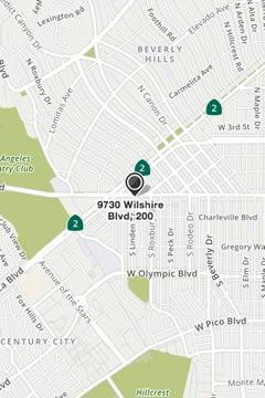 Map to Fusion Wellness PT Beverly Hills Location
